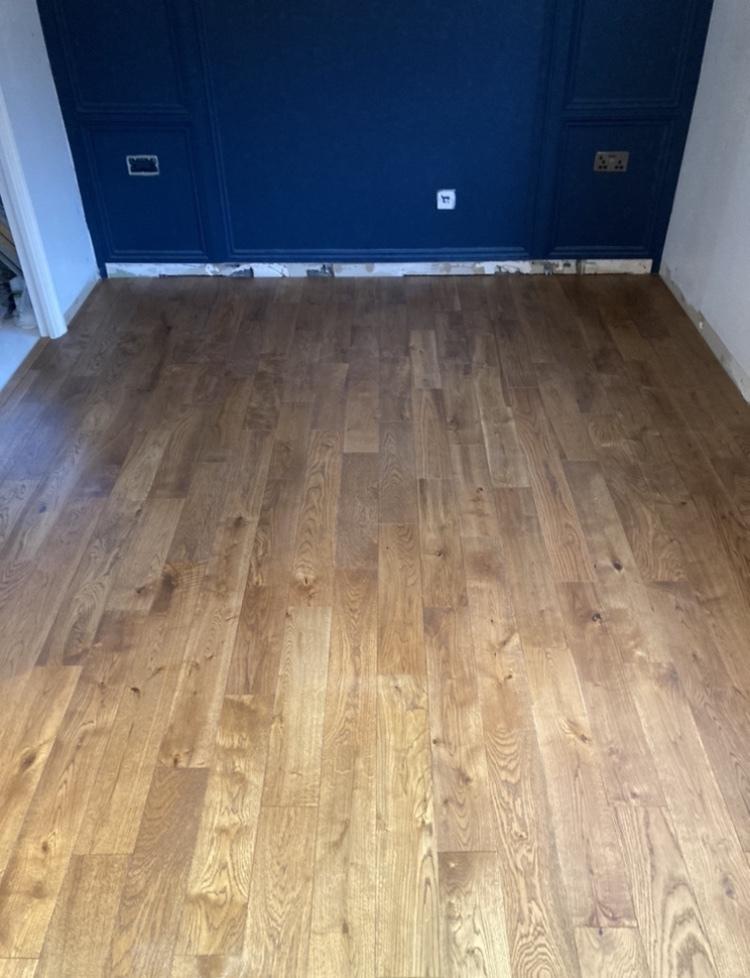 Smoked Solid Oak Flooring Installed